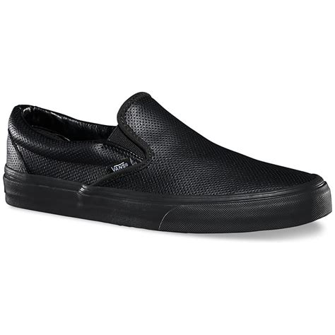 black leather slip on shoes vans classic perf leather slip on shoes evo