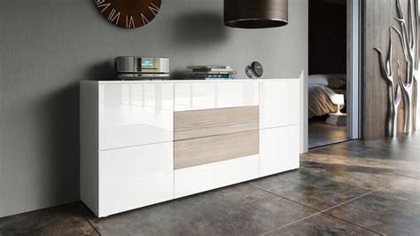 Sideboard Cabinet Rova in White   High Gloss & Natural