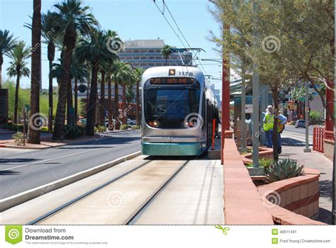 light rail in downtown houston editorial image