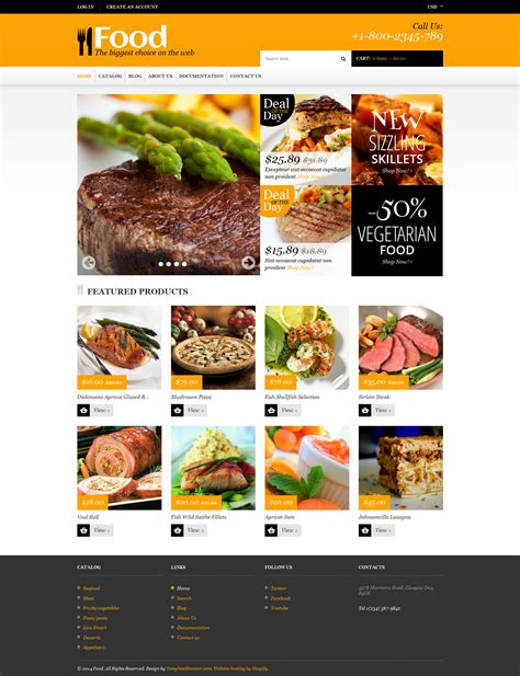 shopify themes food food store responsive shopify theme 48535