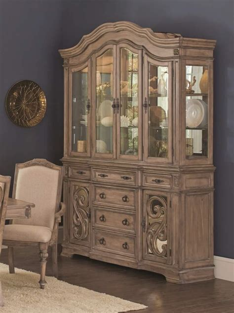Ilana China & Hutch Set Antique Linen Coaster 122214 ? USA Furniture Online