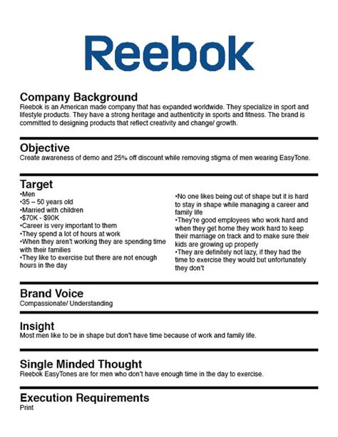 Simple Briefformat Reebok Easytone Reetone On Behance Creative Brief Exles Behance Creative