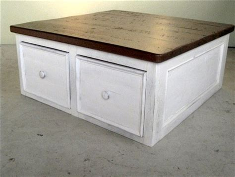 square reclaimed wood coffee table  drawers