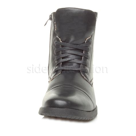 mens lace up biker boots mens low heel military biker lace up zip army combat ankle