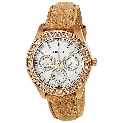 Fossil Fs097 Rosegold White fossil stella gmt white gold tone stainless steel es3104 for me
