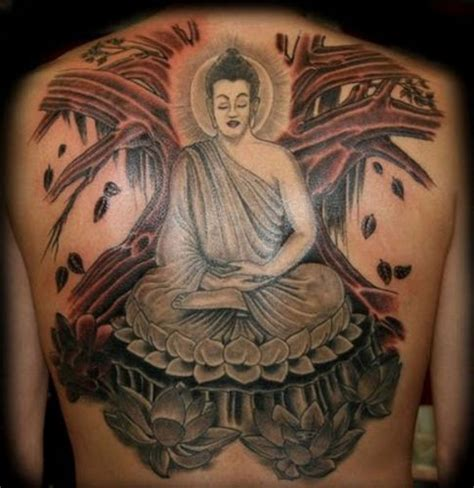 big buddha tattoo big coloured meditating buddha on back