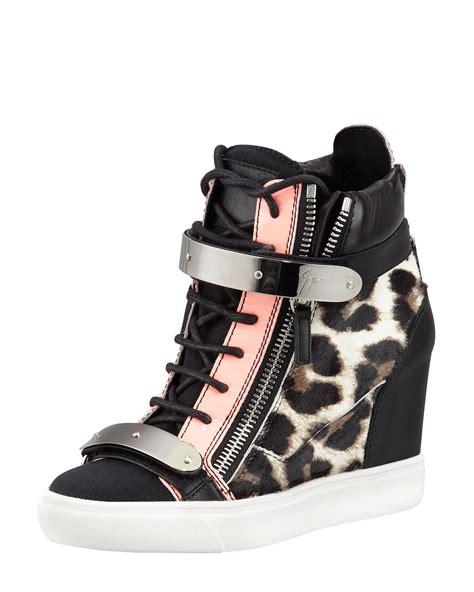 leopard wedge sneakers giuseppe zanotti leopard print calf hair wedge sneaker in