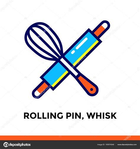 rolling pin and whisk business card template linear icon rolling pin whisk of bakery cooking