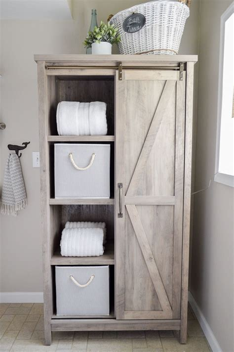 barn door cabinet walmart the cottage bathroom makeover door storage
