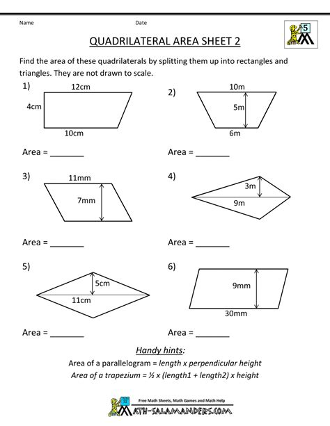 printable geometry worksheets quadrilateral area 2 5th