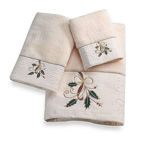 lenox bathroom collection lenox ribbon and holly bath towel collection bed bath beyond