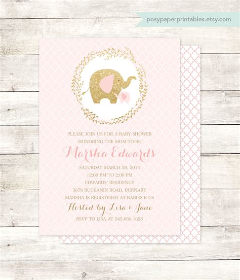 pink gold elephant baby shower invitation by
