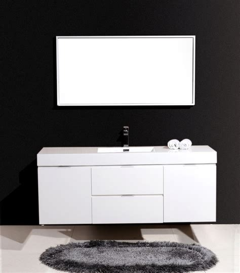 bliss  kubebath high gloss white wall mount modern