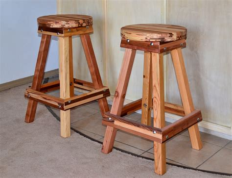 Wooden Bar Stool by Backless Wooden Bar Stool Custom Made Redwood Stools