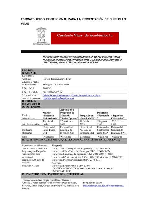 Modelo Curriculum Institucional Formato 250 Nico Institucional Para La Presentaci 243 N De Curr 237 Culo Vitae