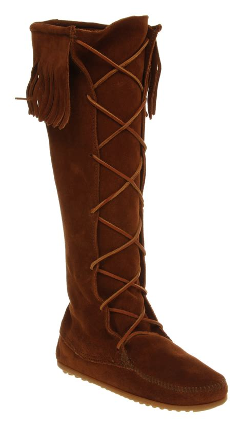 minnetonka fringe lace up knee boot suede in brown