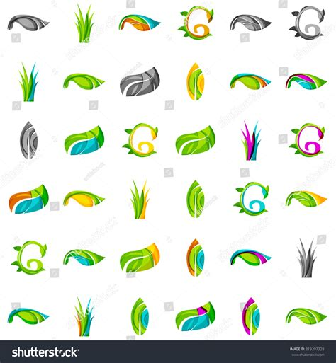 set abstract eco plant icons business stock vector