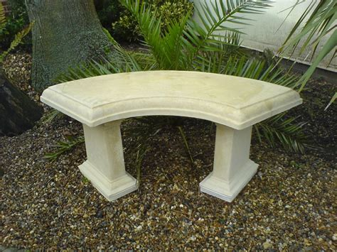 bench stones country stone curved garden bench natural cream