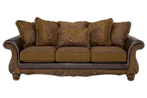 wilmington walnut sofa  material cushions brighter tapestry multicolored