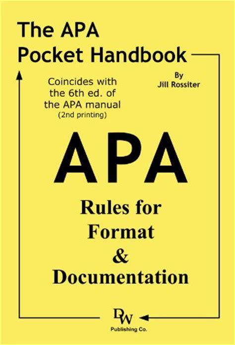 novel format rules the apa pocket handbook rules for format documentation