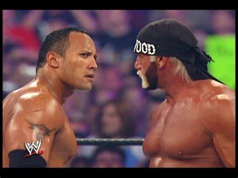 dwayne the rock johnson vs hulk hogan the rock vs hulk hogan wwe wrestlemania 18 youtube