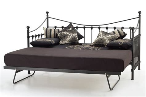 Serene Marseilles 3ft Single Black Metal Day Bed Frame Black Single Bed Frame