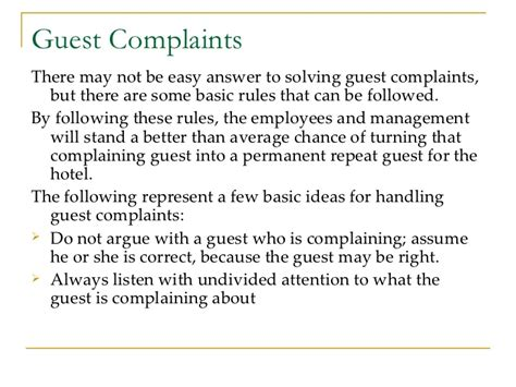 Complaint Letter Against Courier Company Guest Services In Hospitality Industry