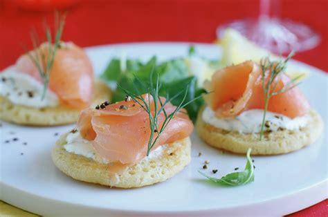 easy no cook canapes smoked salmon blinis recipe goodtoknow