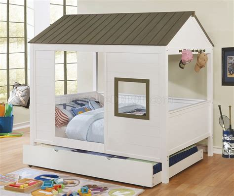 kids house bed cobin cm7133 kids house bed in white grey w options