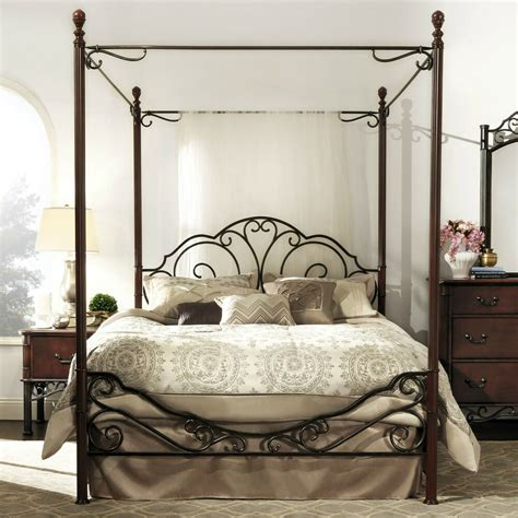 Wrought Iron Bed Frame by Antique Metal Poster Bed Frame Wrought Iron Canopy