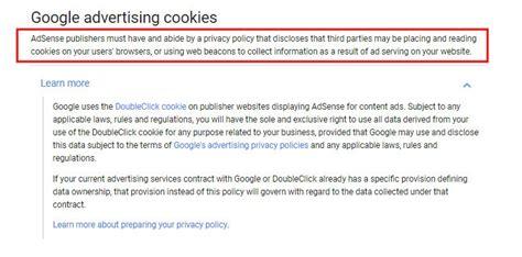 adsense user first program disclaimer for google adsense termsfeed