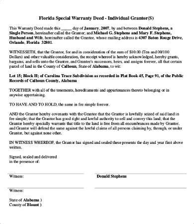 warranty deed form   word  documents