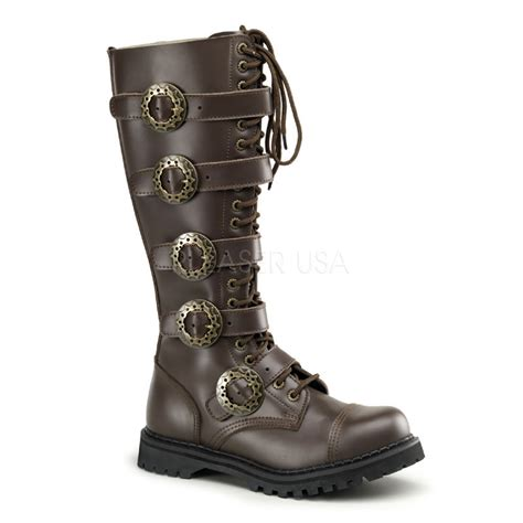 costume mens leather knee length steunk boots