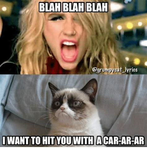 cat lyrics blah blah blah grumpycat lyrics i want to hit youwith acar ar ar grumpy cat meme on