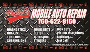 auto mechanic business cards richie s mobile auto repair 760 622 8160 my business