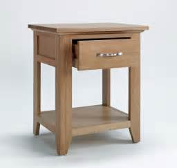 narrow unpolished oak wood bed side table with metal