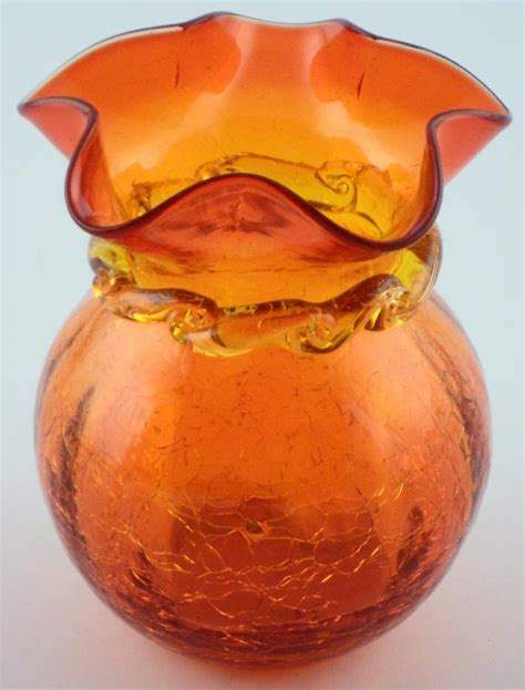 Glass Vase Antique Collectibles by Vintage Blown Crackle Glass Vase 5 Quot Aberina And Collectible