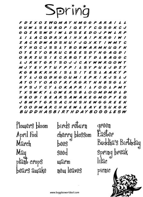 printable word search about spring hard printable word searches for adults spring word