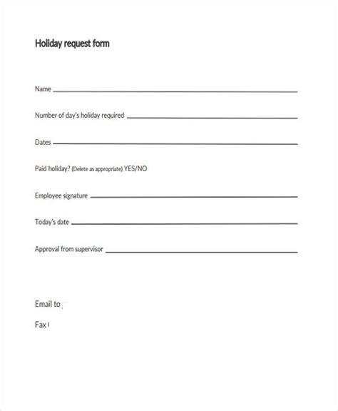 holiday request form school holiday request form request