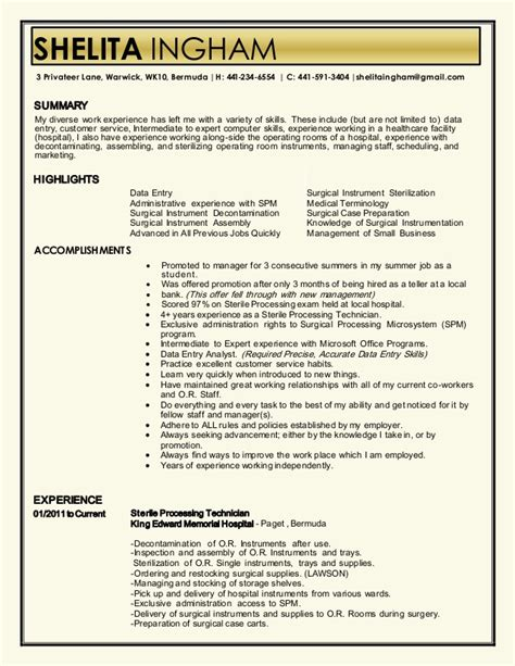 sterile processing technician resume sle sle resume for electrical technician electrician resume