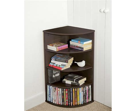 curved corner bookcase cd dvd stand living room