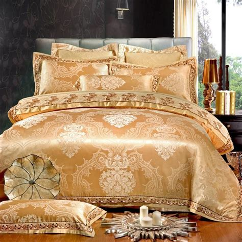 gold silk comforter white gold jacquard silk cotton luxury bedding set king