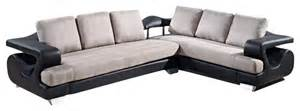 Black Microfiber Sectional Sofa U7208 Black Bonded Leather Grey Microfiber Fabric Sectional Sofa Sectional Sofas By