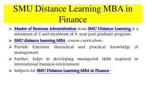 Mba Finance Lectures by Smu Distance Learning Mba In Finance