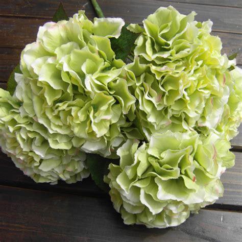green artificial silk hydrangea 5 flower heads bouquet
