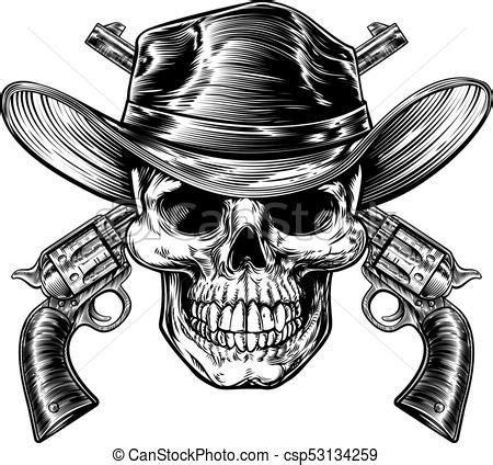 cowboy skull and pistols skull cowboy in western hat and