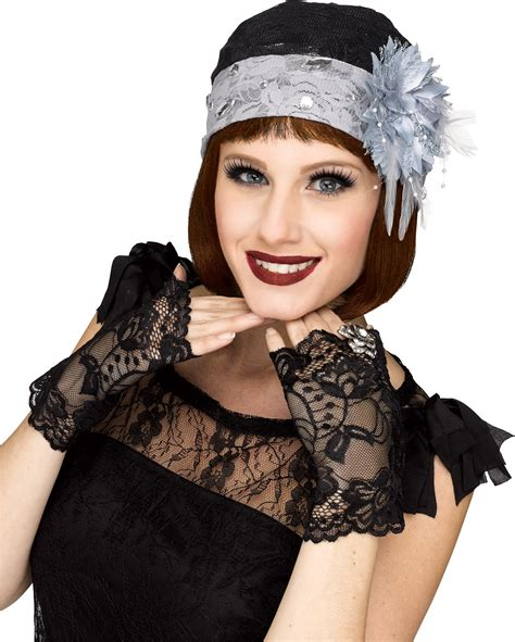 roaring 20s hats for women 1920 s black lace flapper cloche hat mitts gloves womens