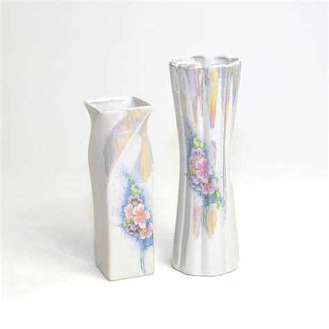 Pastel Vase by Iridescent Luster Vase Pair Beautiful Pastel Floral