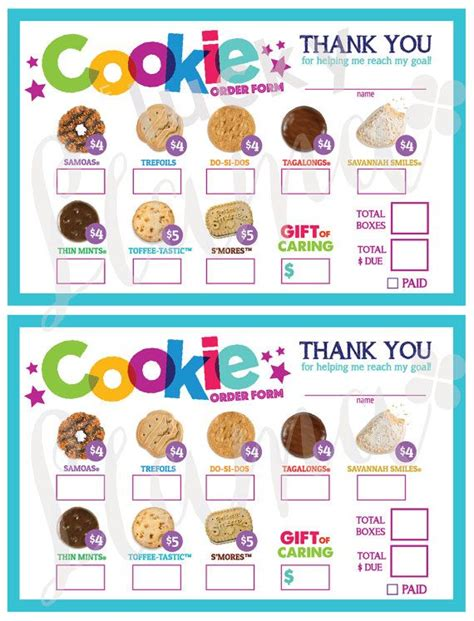 printable order forms for girl scout cookies best 25 order form ideas on pinterest order form