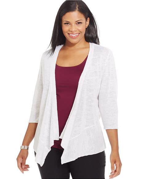 plus size draped cardigan alfani plus size draped cardigan shopstyle co uk knitwear